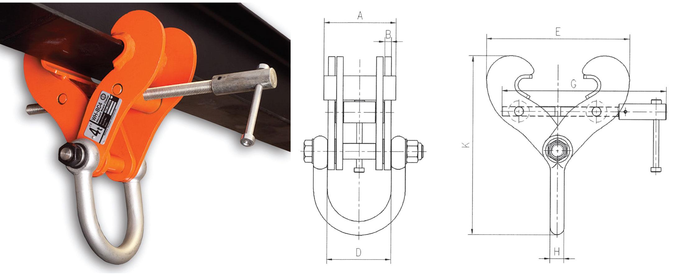 Wh Bc Fixed Jaw Super Clamp Manual Hoisting Lifting